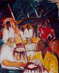Aqui en mi vientre Santiago de Cuba -acrylic on canvas- 98 x 80 cm