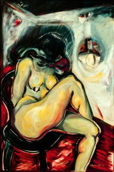 Caty admira sus formas -oil on canvas- 149 x 99 cm