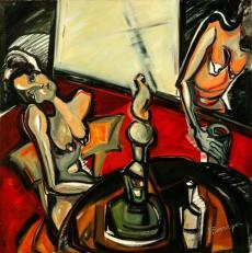 Caty y sus pensamientos-oil on canvas- 100 x 100 cm