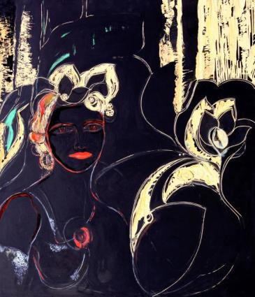 Inspiracion -oil/acrylic/engraved on MD fibreboard- 92 x 80 cm