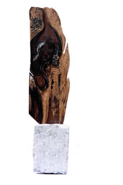 La fuerza del ser -mixed xilography- 10 x 11 x 53 cm