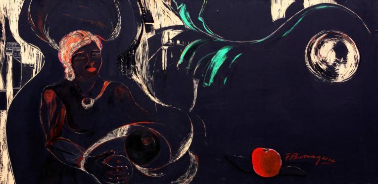 La voz de la carne -oil/acrylic/engraved on MD fibreboard- 93 x 190 cm
