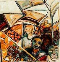 Pasajeros de Guayaquil -oil & acrylic on canvas- 83 x 80 cm
