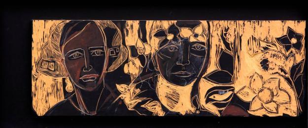 Tarde otoñal -oil/acrylic/engraved on MD fibreboard- 40 x 90 cm